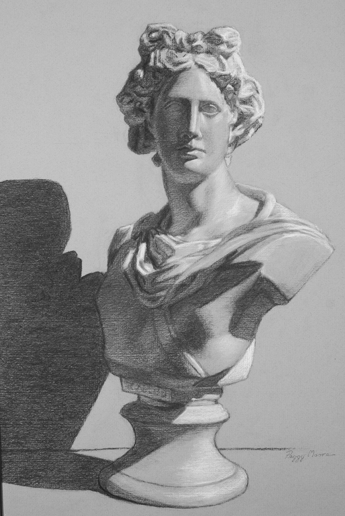 Apollo, cast drawing  12x17 in Charcoal and white chalk on gray-tinted paper