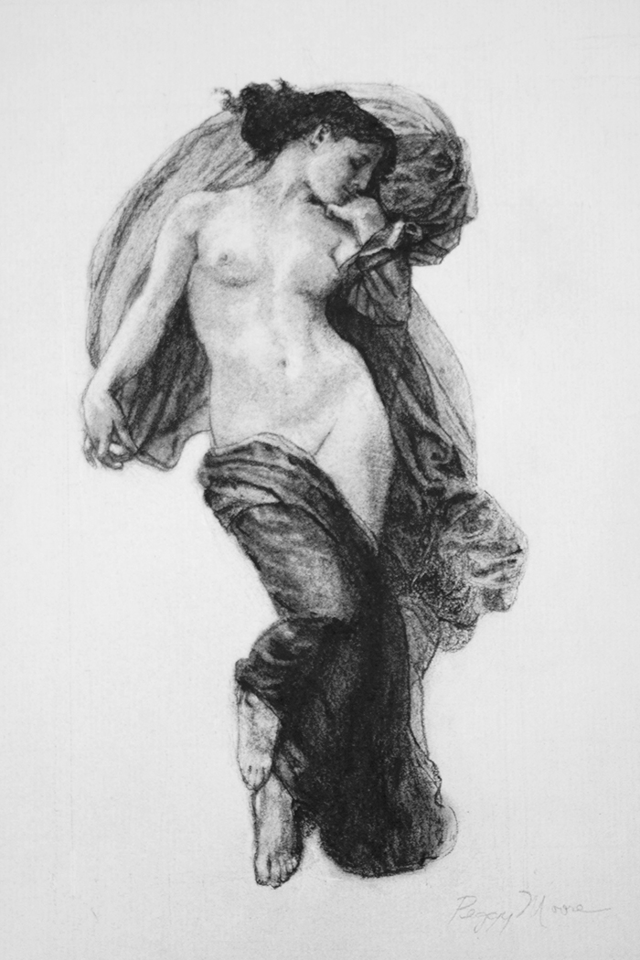 Study of 'Evening Mood' by Bougeureau  8x10 in Charcoal