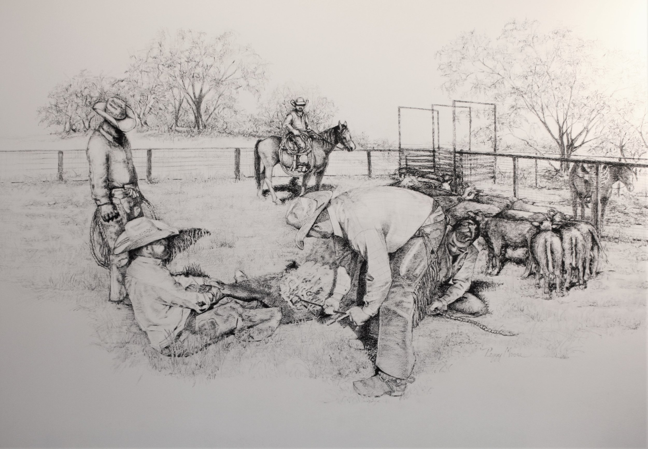 The Cattle Drive    18 x 24in  Graphite  Commission