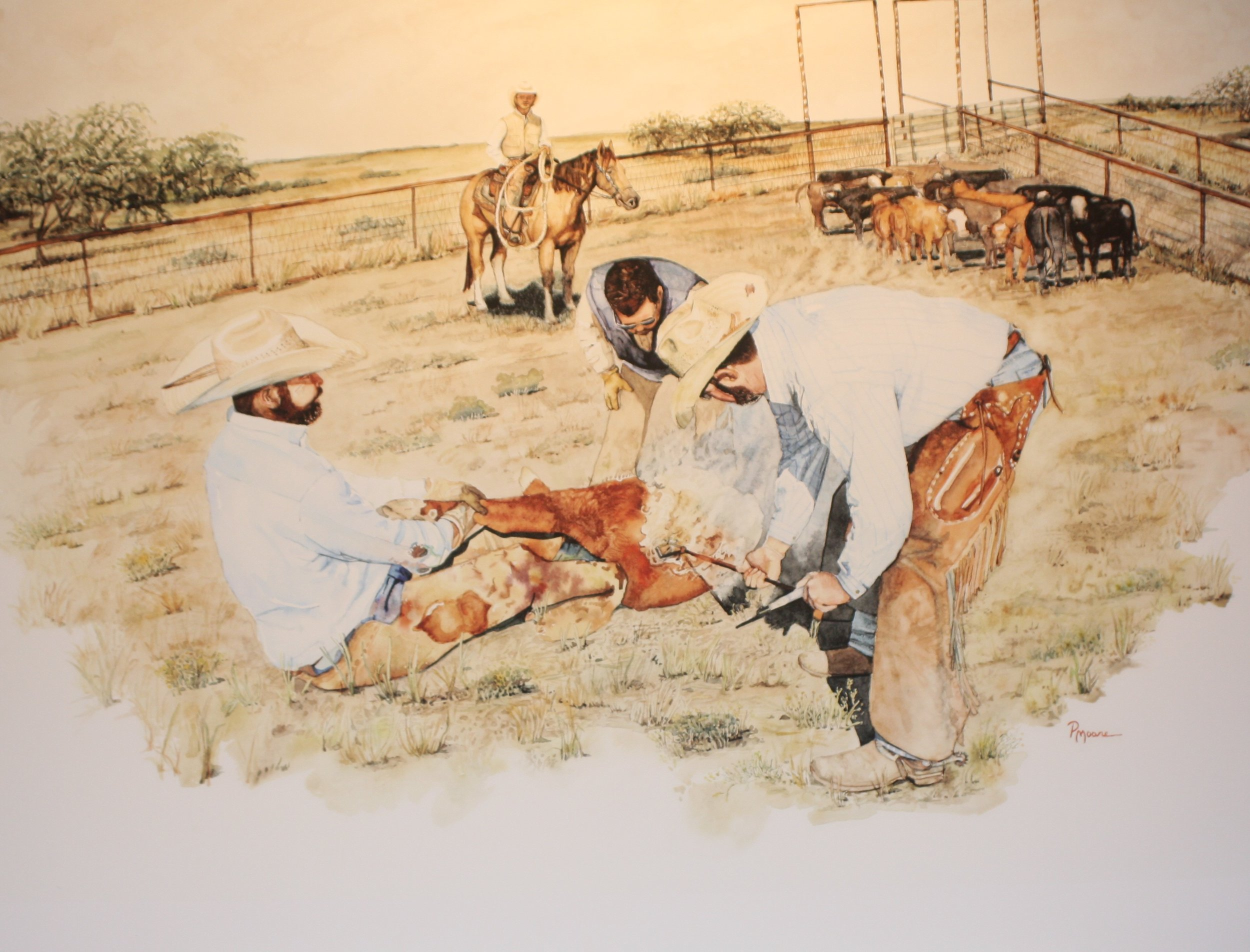 The Cattle Drive   24X30 in  Watercolor Commission