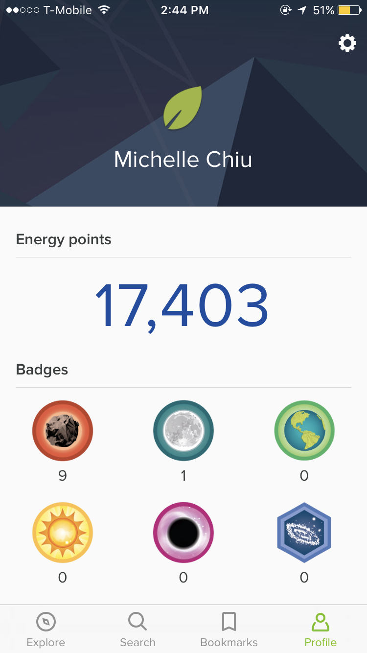 Earning and the collection of badges gameify the learning experience