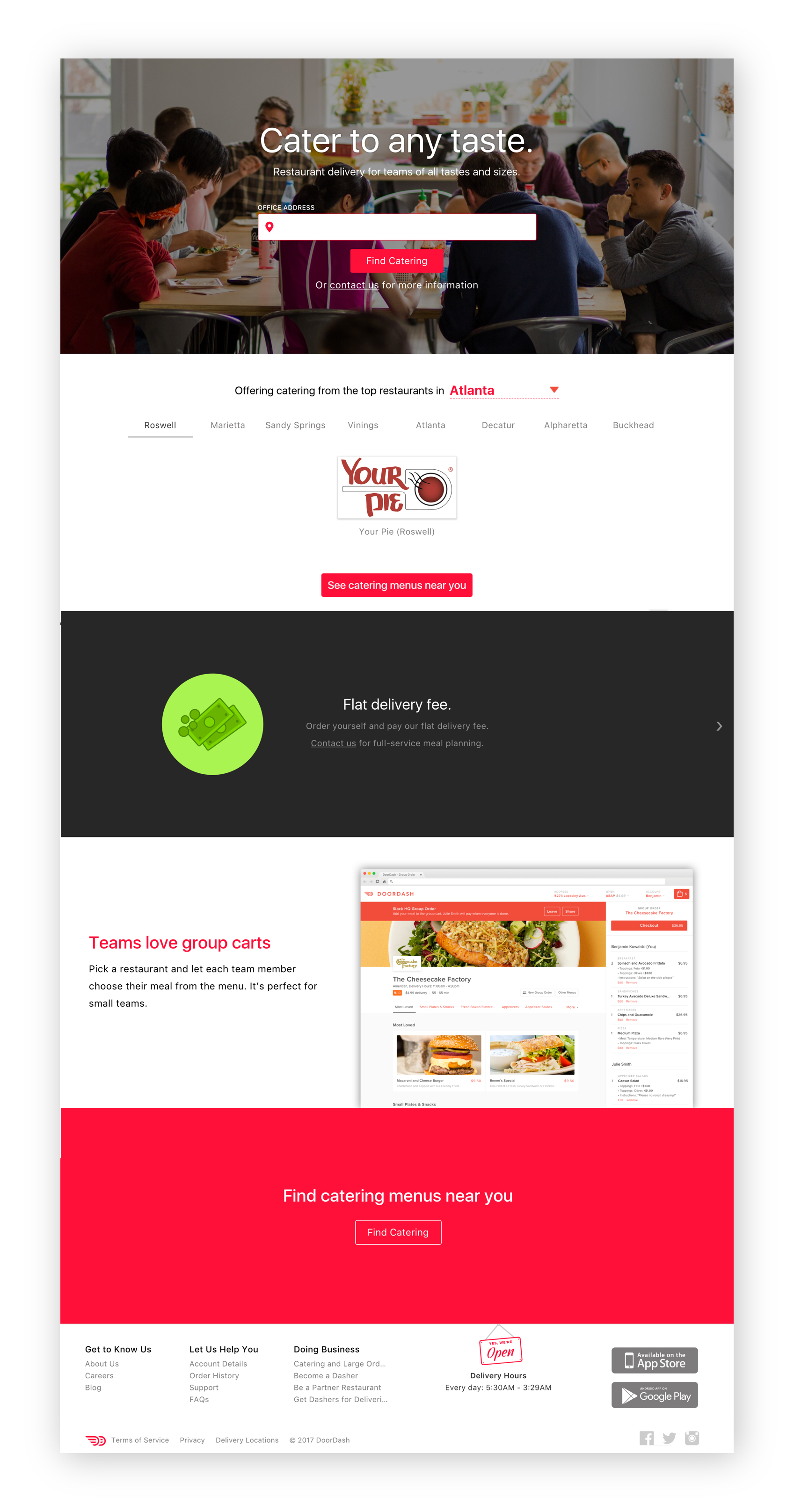 Previous DoorDash for Business Homepage - As you can see on the left, the homepage was incredibly lackluster. Below, I detail some elements that make the design not very user-friendly nor scalable.1.