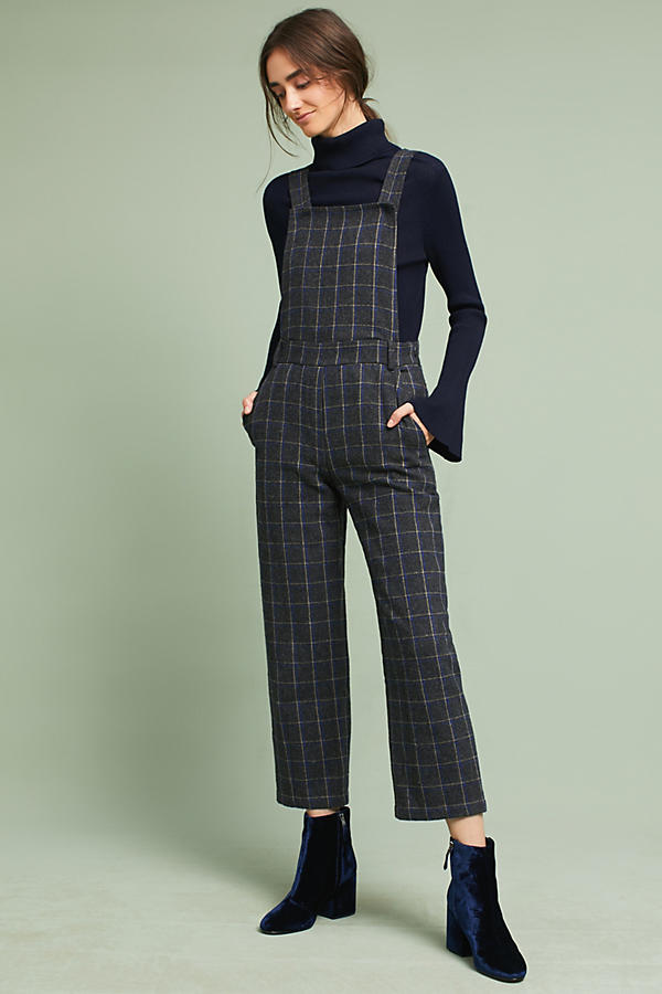 C  ropped Plaid Overalls