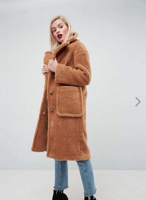 ASOS Coat In Luxe Teddy Borg