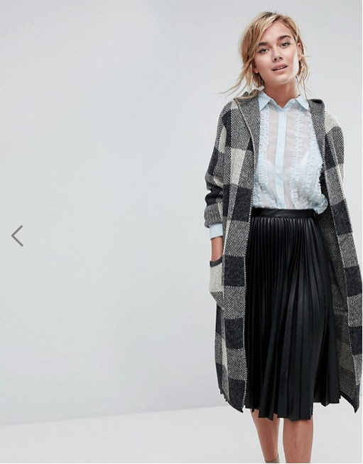 W  illow and Paige Longline Check Cardigan