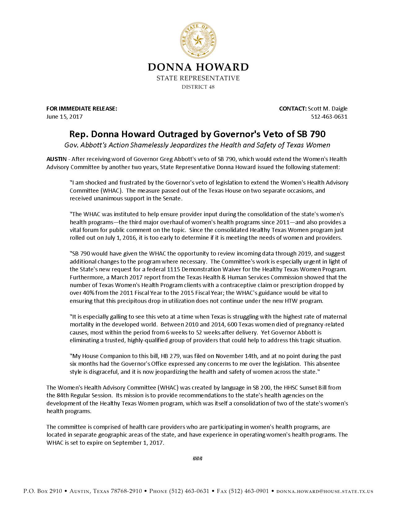Rep. Donna Howard_Statement on Governor's Veto of SB 790_06.15.2017.jpg