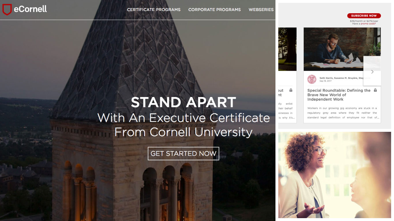 Origin worked with eCornell to design a digital experience that engaged their audience and elevated their postion in the online learning market.