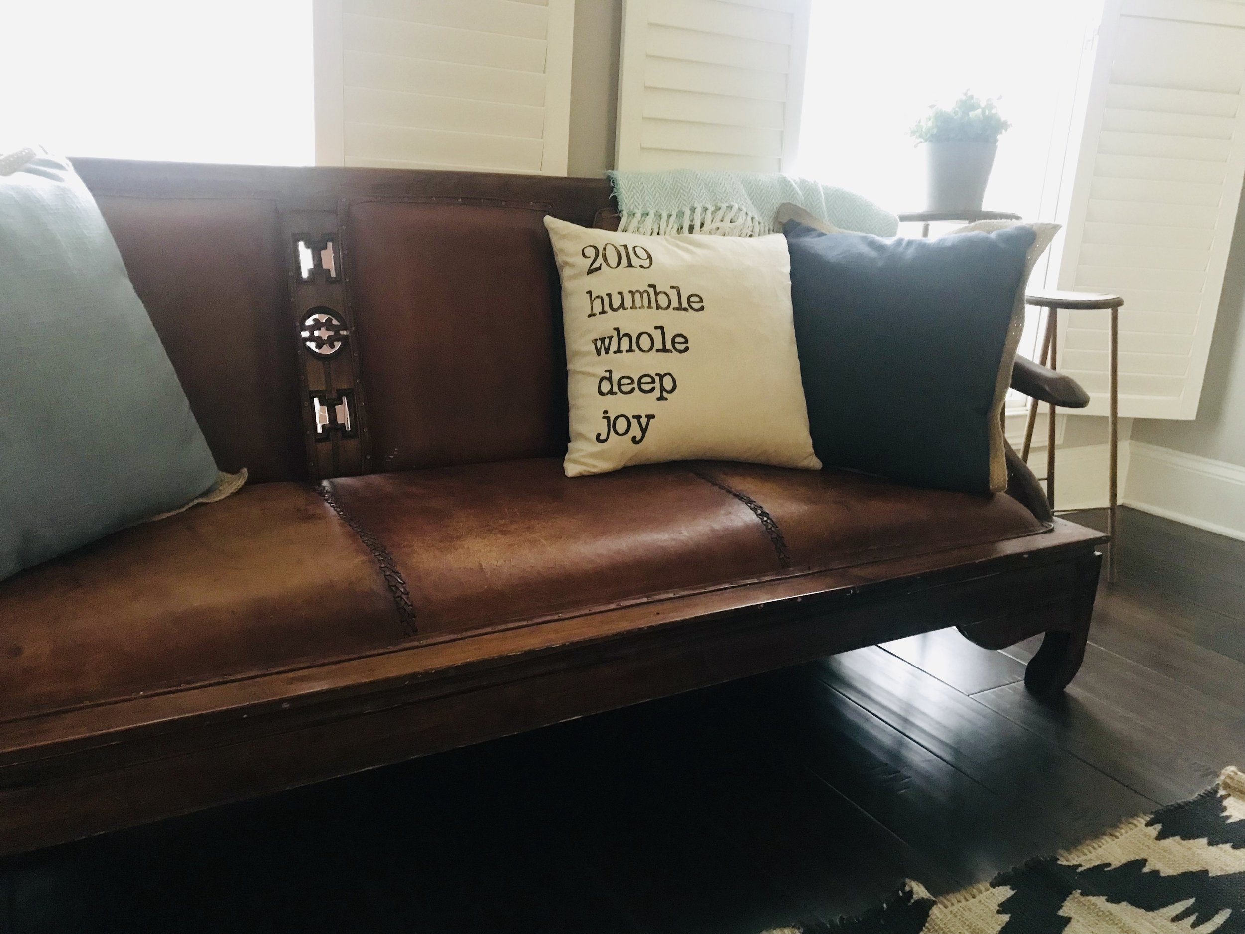 Special thanks to Wooden Phoenix Designs for this sweet pillow, an everyday reminder of our 2019 words.
