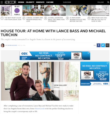 Elle Decor: HOUSE TOUR: AT HOME WITH LANCE BASS AND MICHAEL TURCHIN