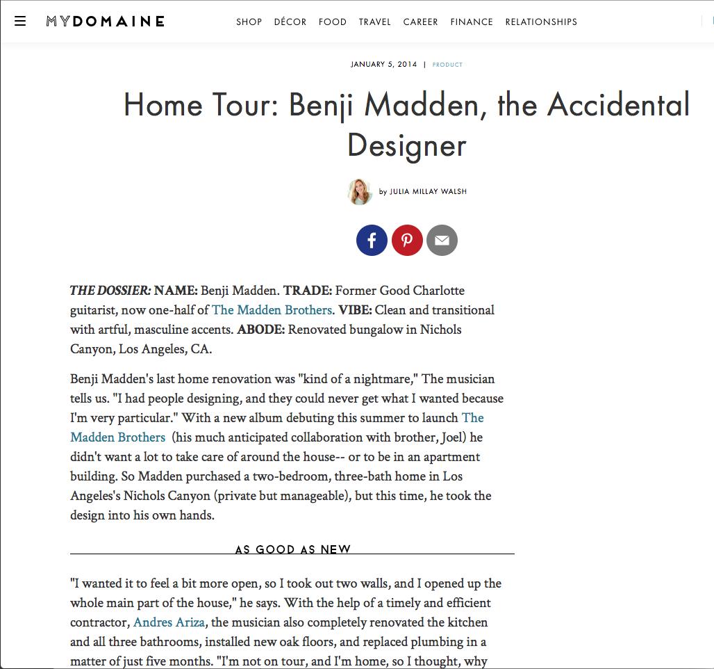 MyDomaine- Home Tour: Benji Madden, the Accidental Designer