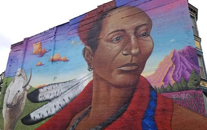 Mural of Chief Blackhawk and Miracle by Jeff Henriquez.