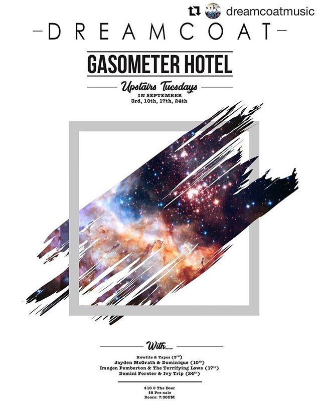 Next Tuesday 24 Sep I'm supporting @dreamcoatmusic at their Gasometer residency in Melbs.  I'll be playing some brand new tunes (and some old faves) so come along! ✨