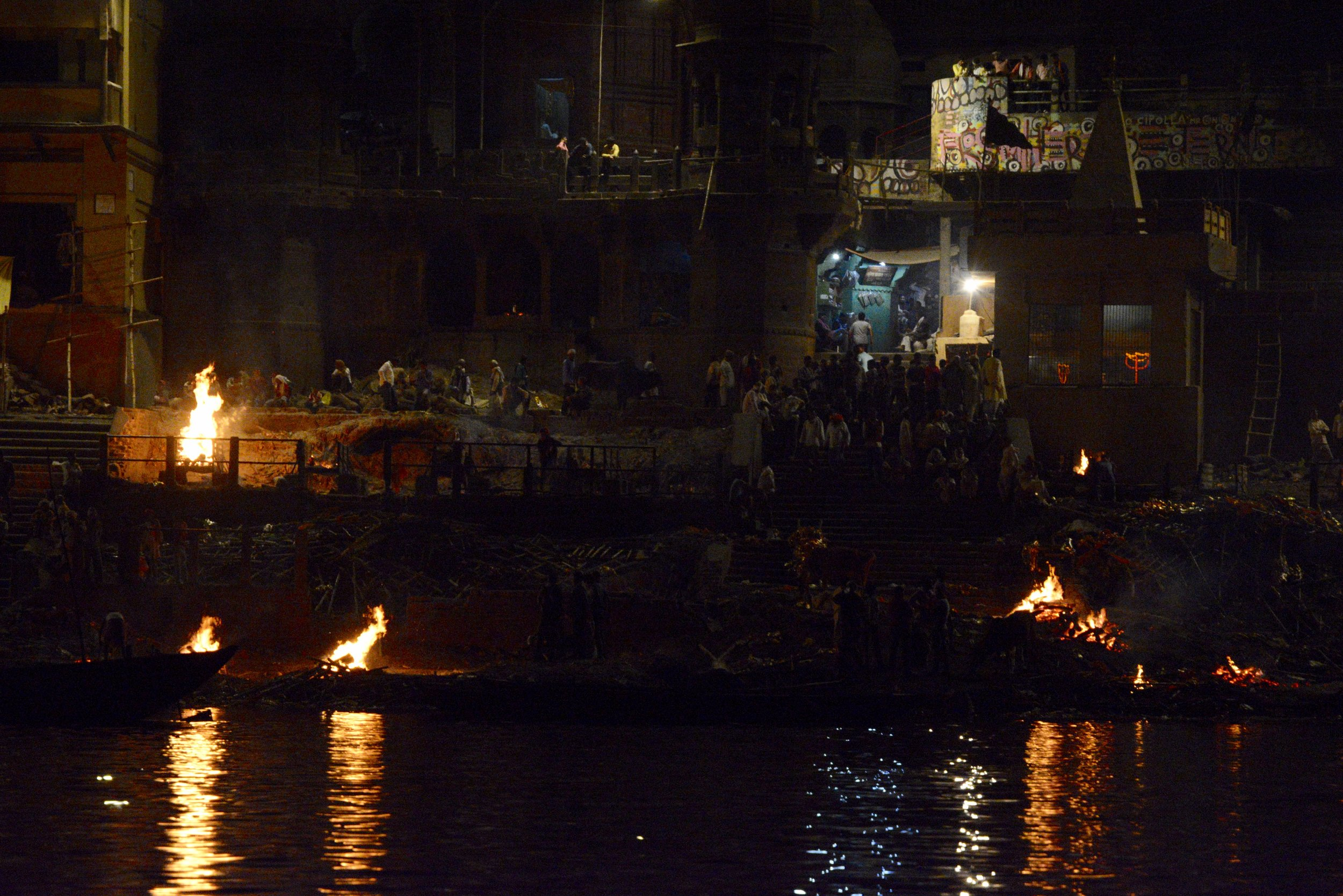The burning ghats at night.