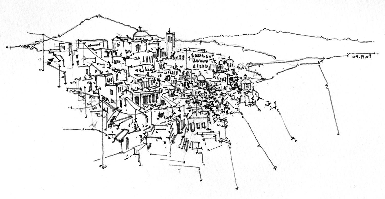 Caldera city sketch in Santorini, Greece