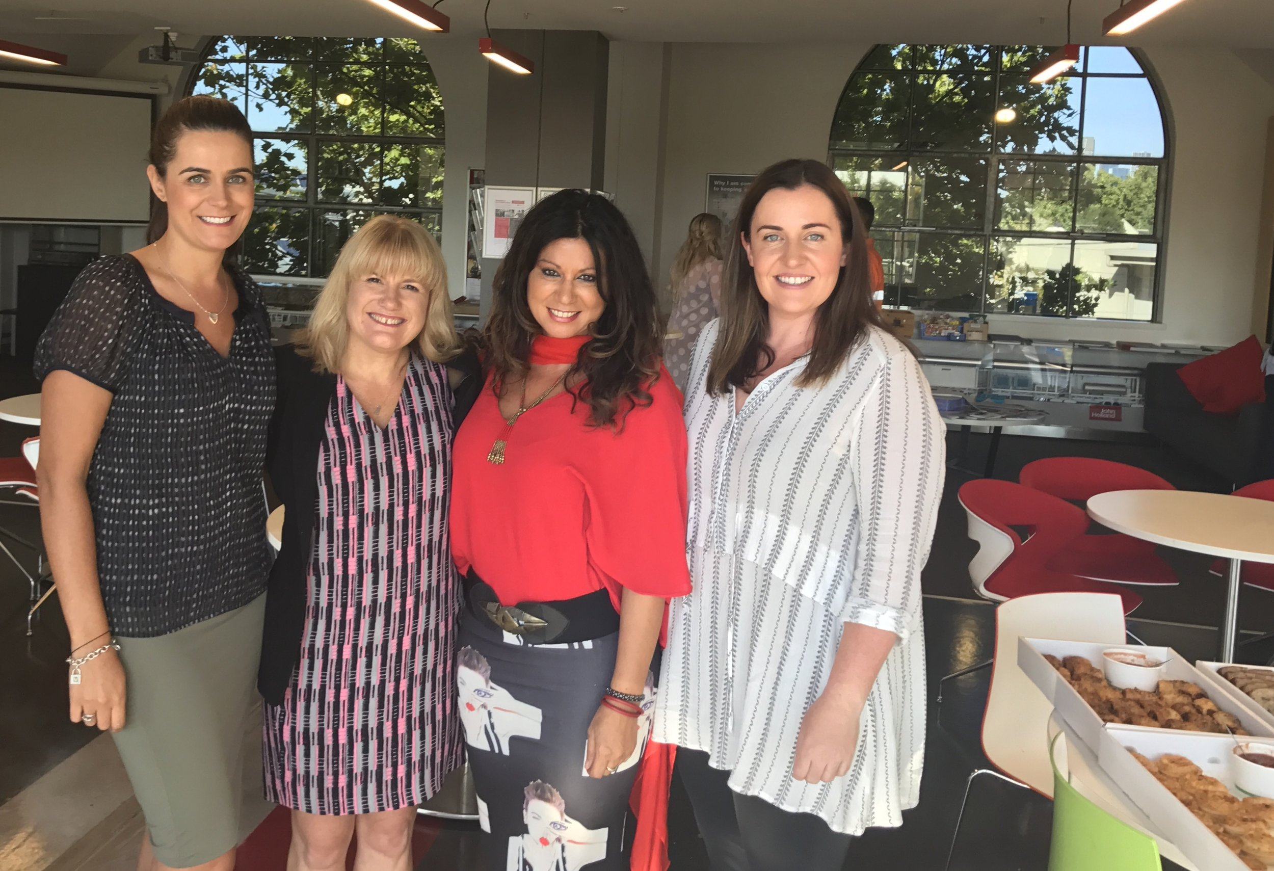 """Congratulations to our second cohort of WOW participants. The journey is just beginning. We are very proud of this program and that we are able to offer these leadership and development opportunities to our female employees."" --Loren Tairi, People and Culture Manager, VIC/SA/TAS & NZ, John Holland Group Pty Ltd, along with Karen Murfett, Annalise Jennings and Abbey White."