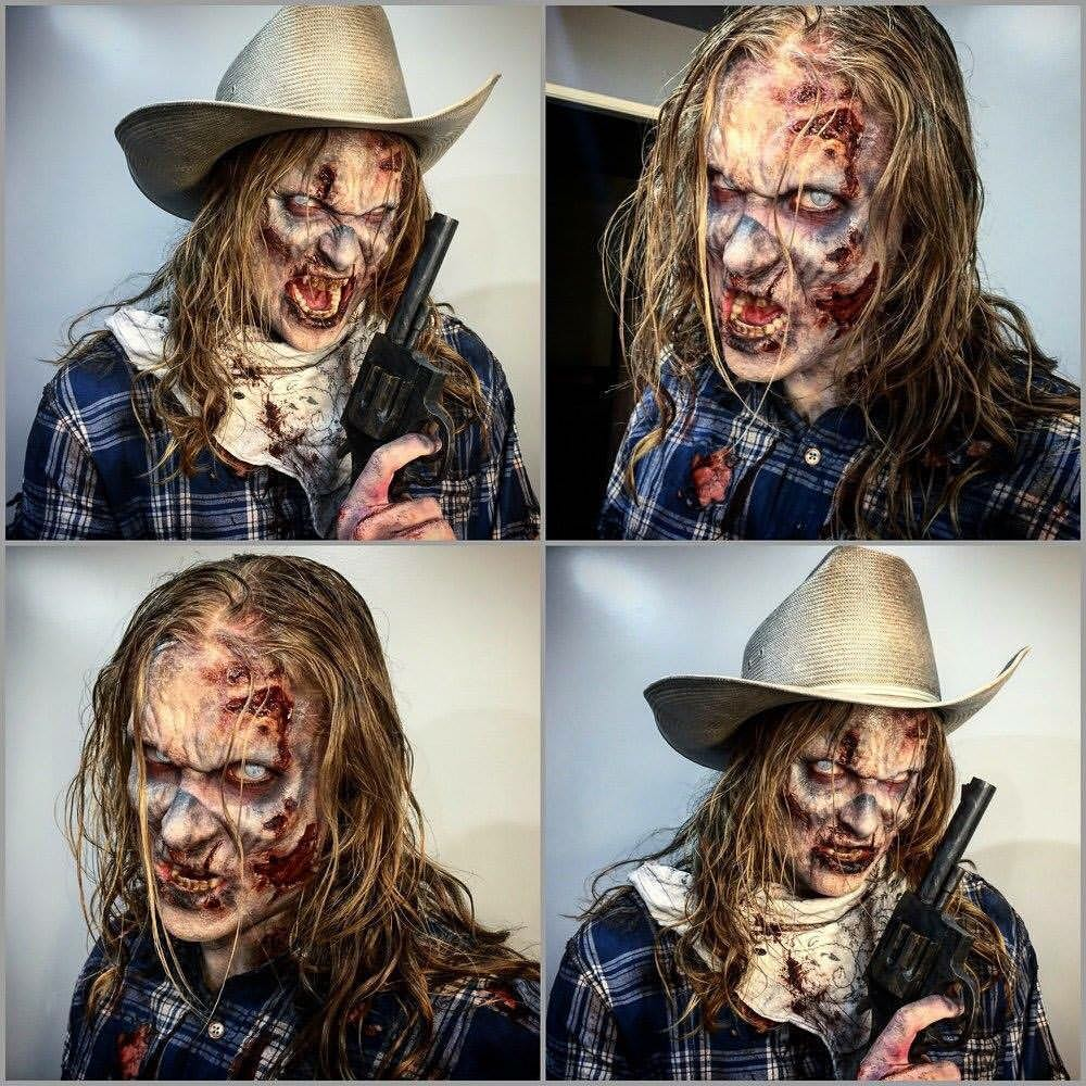 Zombie Cowboy. Application/Makeup by Hannah Reed for Tinsley Transfers Merchandise.  Sculpt by Tinsley Transfers.