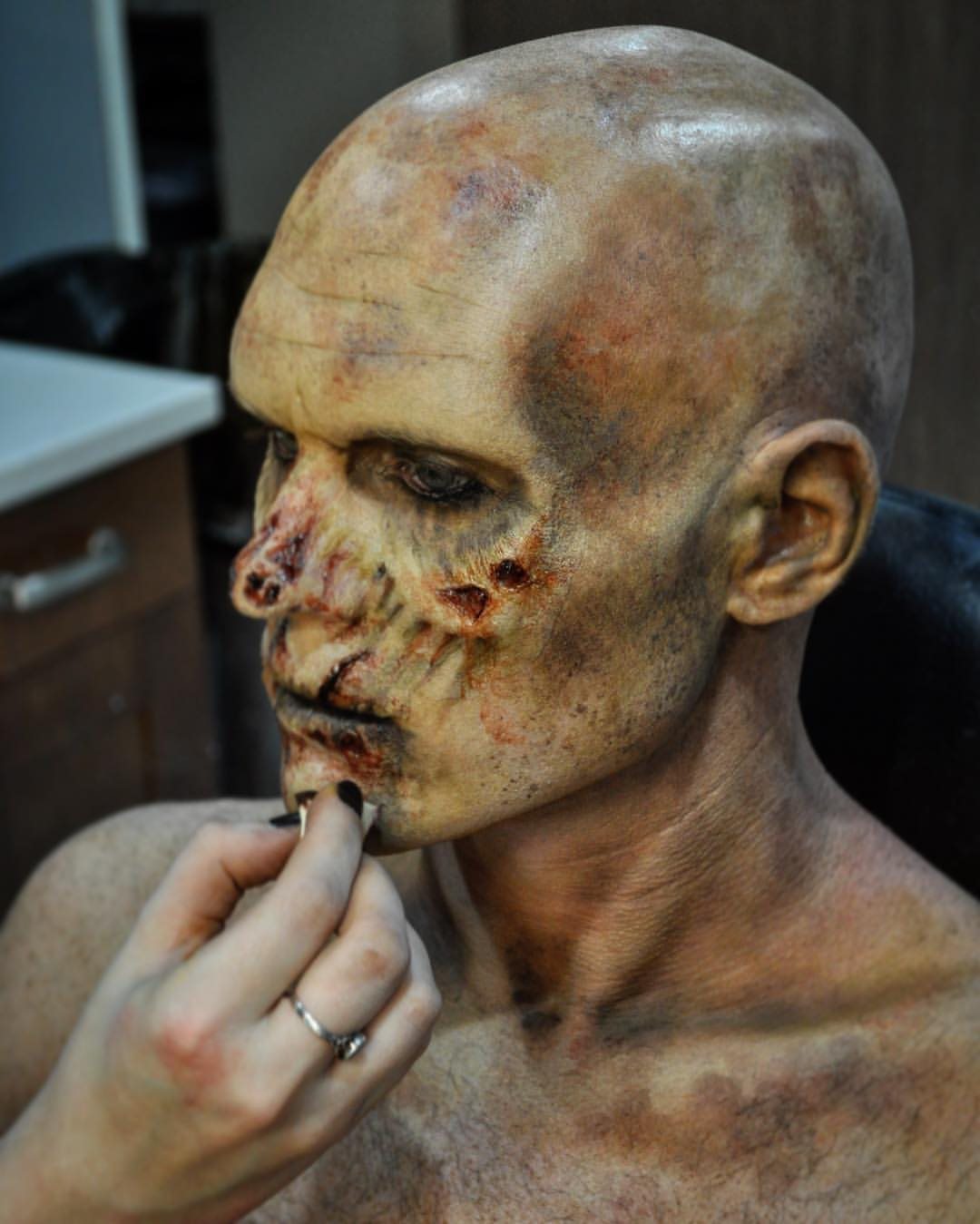 Zombie in the Works. Application/Makeup by Hannah Reed for Tinsley Transfers Merchandise.  Sculpt by Tinsley Transfers.