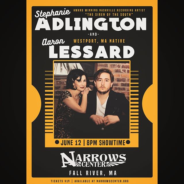 🚨SHOW ALERT!! 🚨 @stephanieadlington and I return to my neck of the woods to perform at the @narrowscenter Wednesday June 12th.. we are so honored to be on the same calendar with the likes of Pat Metheny, Robben Ford, and Blue Oyster Cult!!! See you there! #hometown #gretsch #americana #southcoast #fallriver