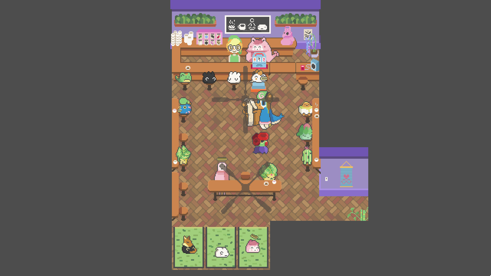 Help adultami run their shops and businesses once they head into the city. Here a pink toad cutie runs a tea & biscuit bar with yoga mats.