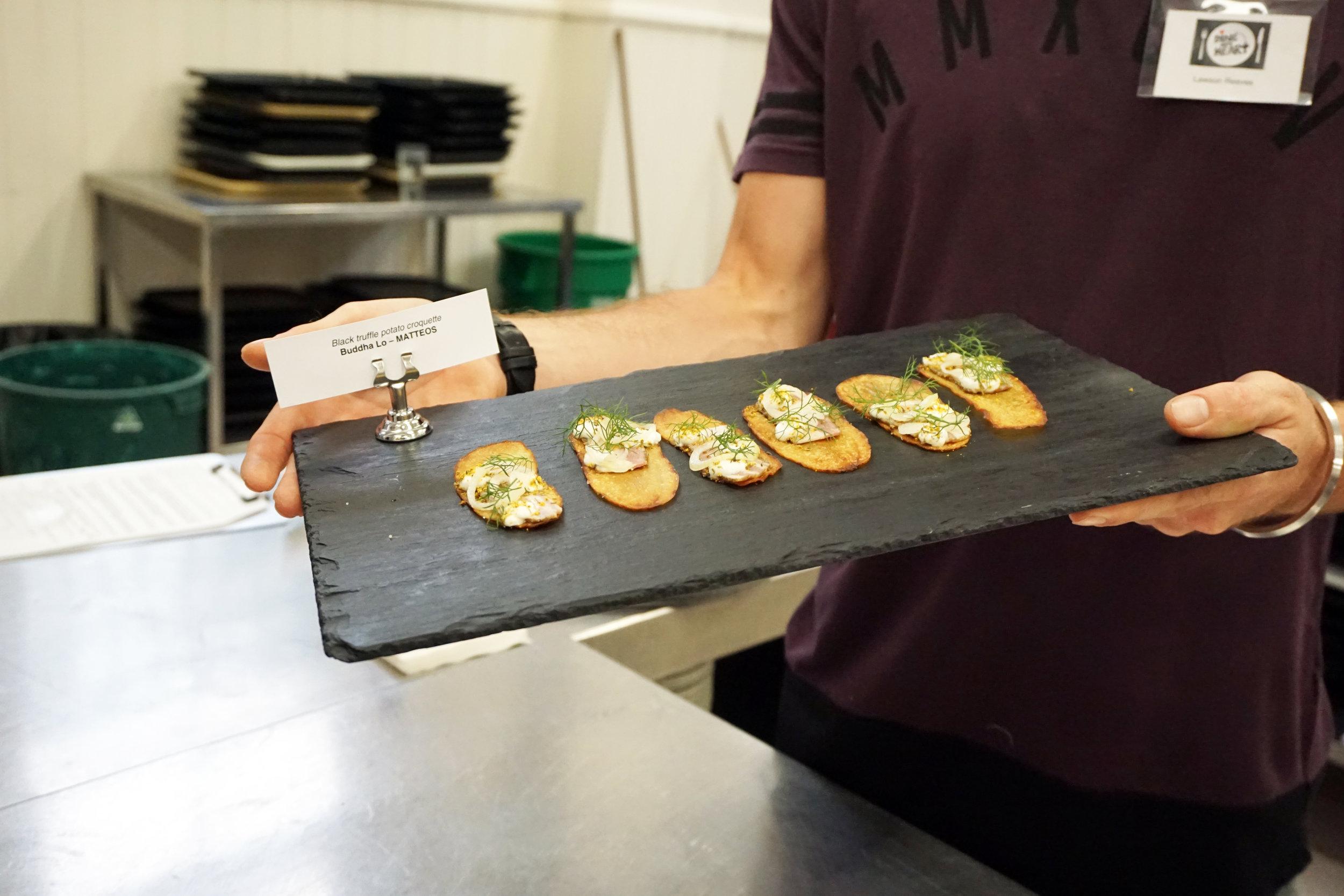 Lamb Belly Siglina, Potato Crisp, Goat Mil Gel, Pickled Onion and Wild Fennel - Chef Brooke Payne for Jarrod Smith (Elyros)