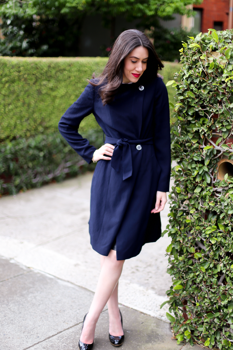 Lisa wears  Textured Trench Coat  from David Lawrence.