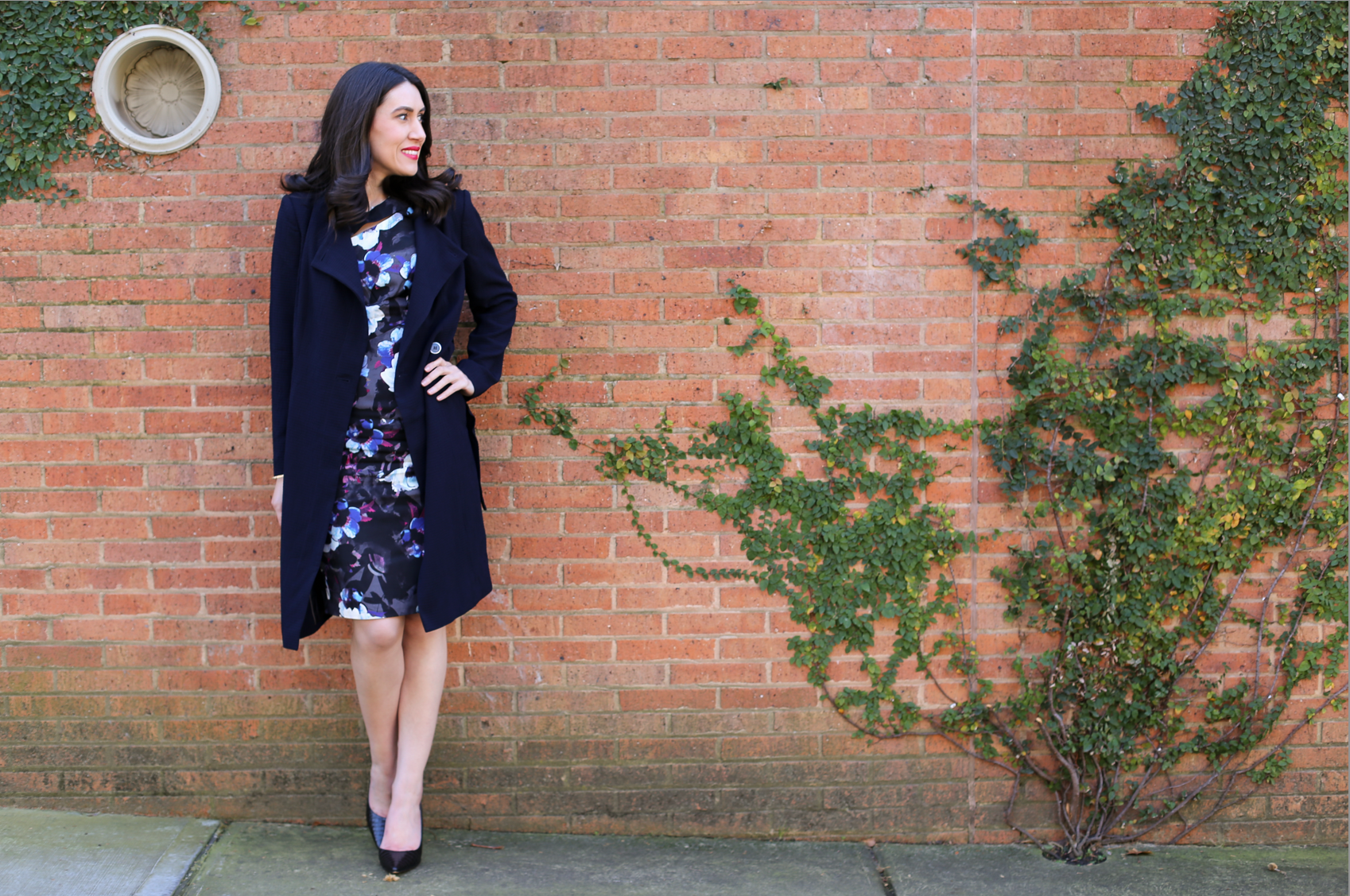 Lisa wears  Lotus Dress  &  Textured Trench Coat  from David Lawrence.