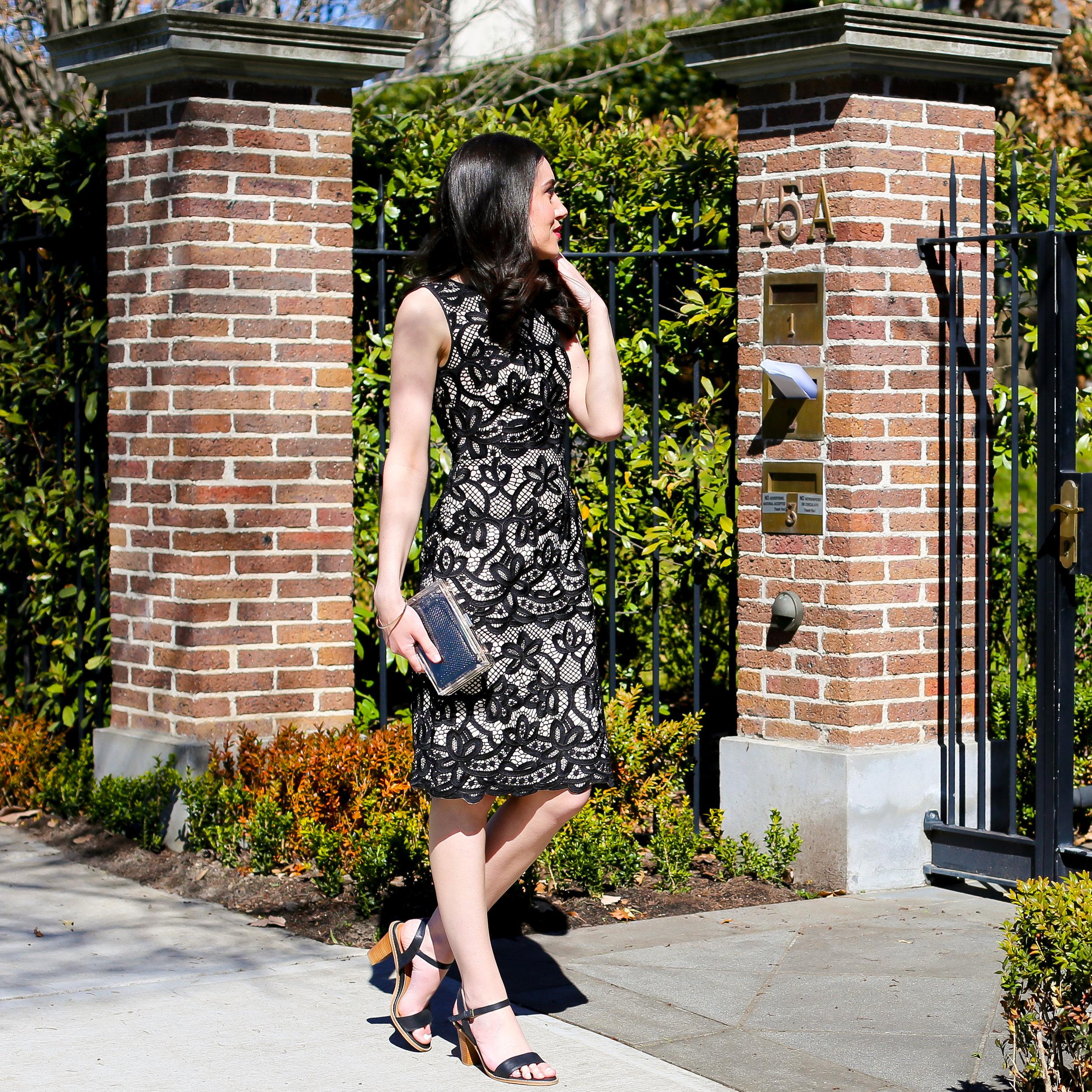 Lisa wears  David Lawrence Ravenna Bonded Lace Sleeveless Dress &  Jo Mercer Eramus shoes .
