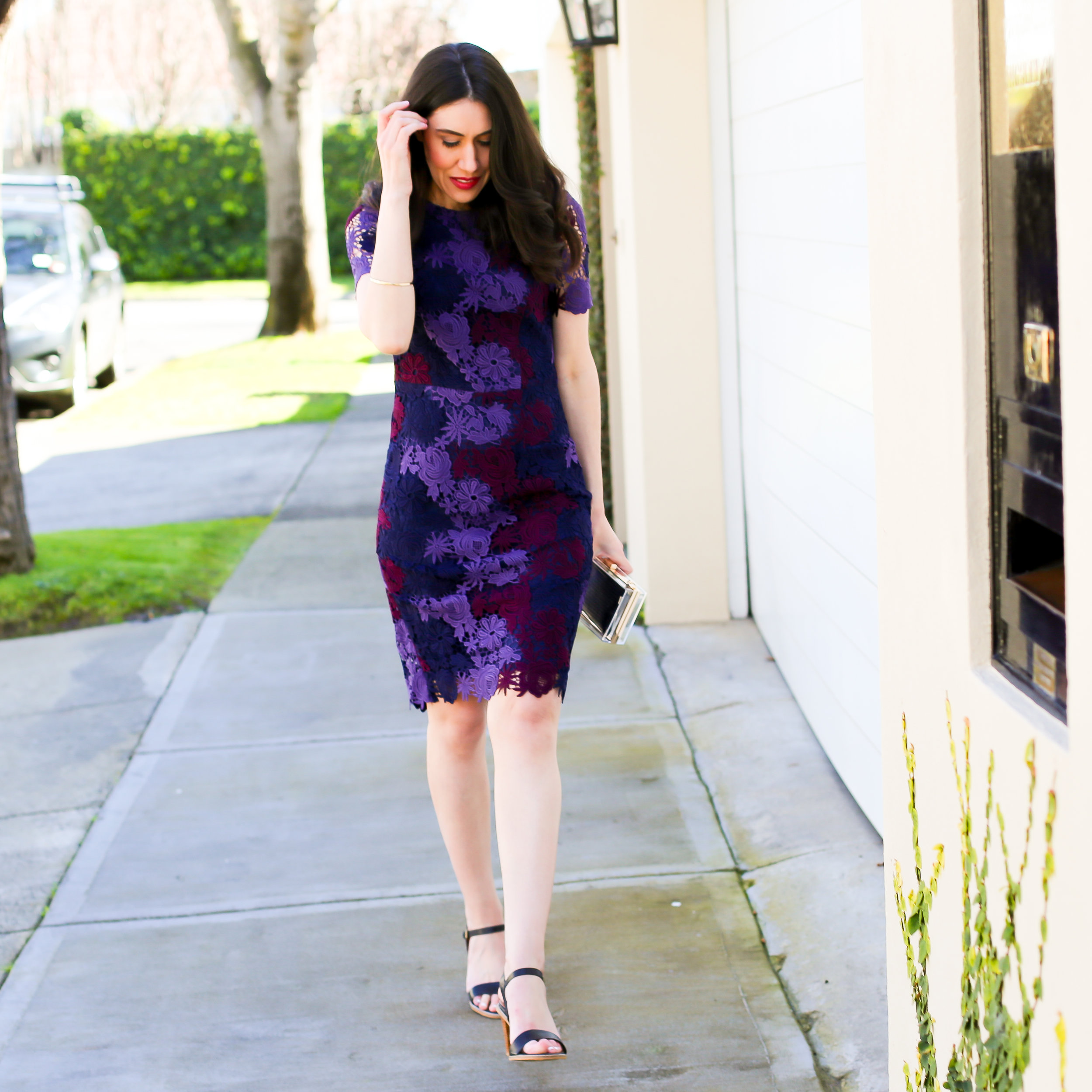 Lisa wears  David Lawrence Luxe Tri-Colour Lace Dress