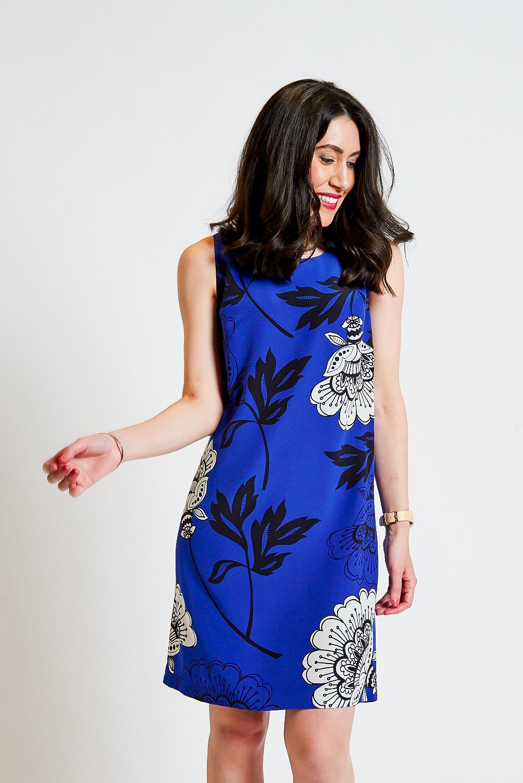 Lisa wears  David Lawrence Lucille Floral Silk Shift Dress