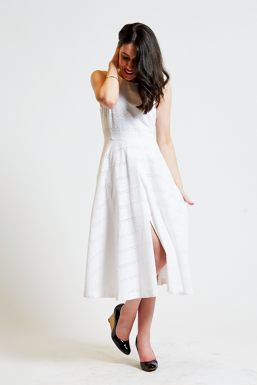 Lisa wears  Marcs Broderie Numero Uno Dress