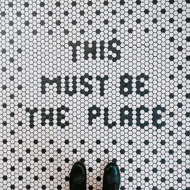Yep, right here. 👣 . You're exactly where you're supposed to be. . 📷: @paigebabilla ____ #ihaveathingforfloors #mosaictile #mosaic #mosaicart #mosaictiles #mosaicfloor #thismustbetheplace #melbourneblogger #aussieblogger #gdaygirl