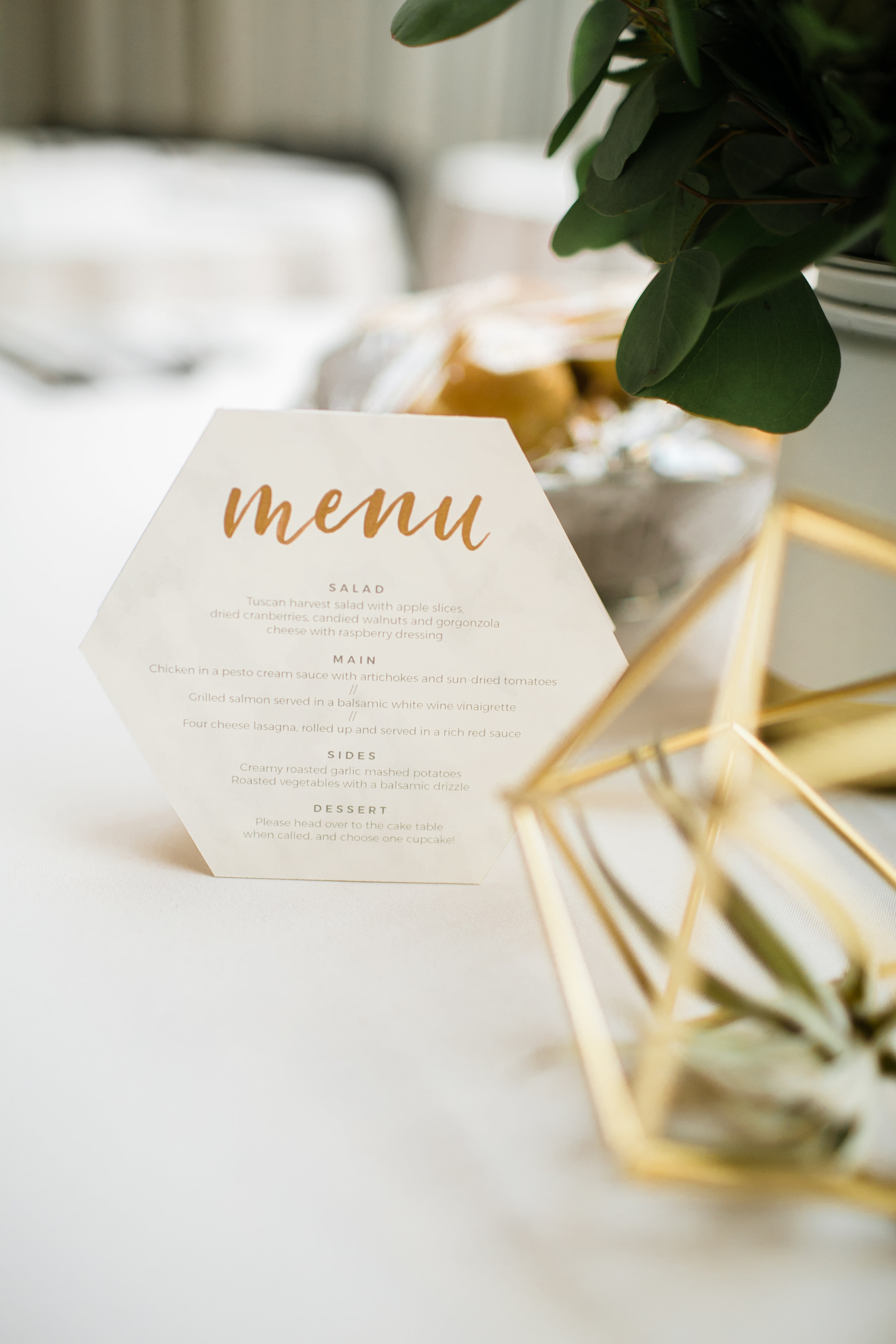 Menu design and calligraphy by Grace Niu, photo by  Mayden Photography