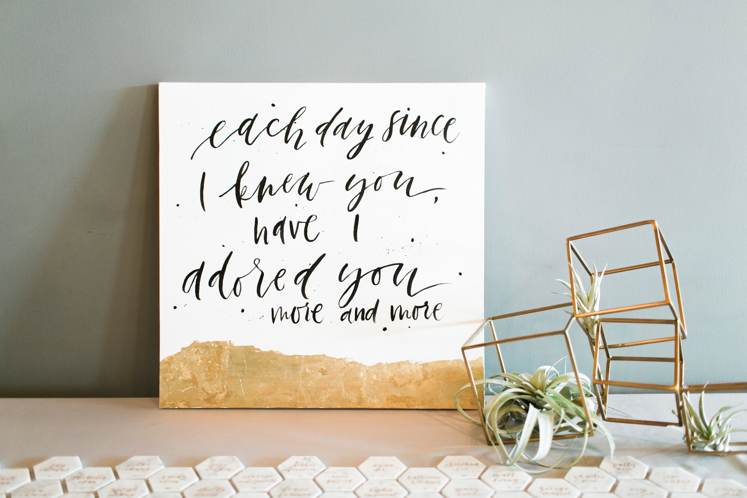 Decor and calligraphy by Grace Niu, photo by  Mayden Photography