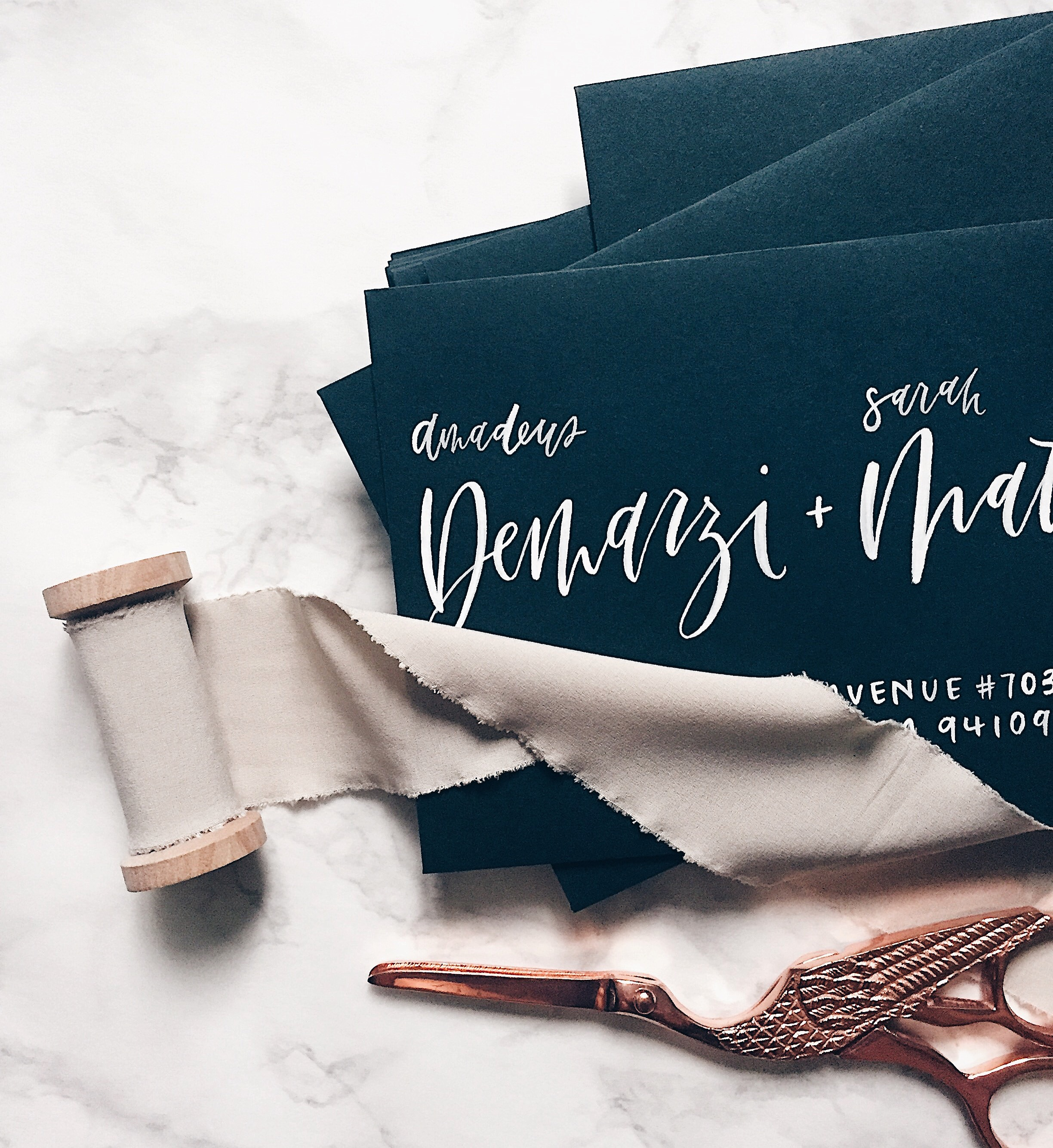 Photo, styling and calligraphy by Grace Niu Design. Shop the marble contact paper  here  .
