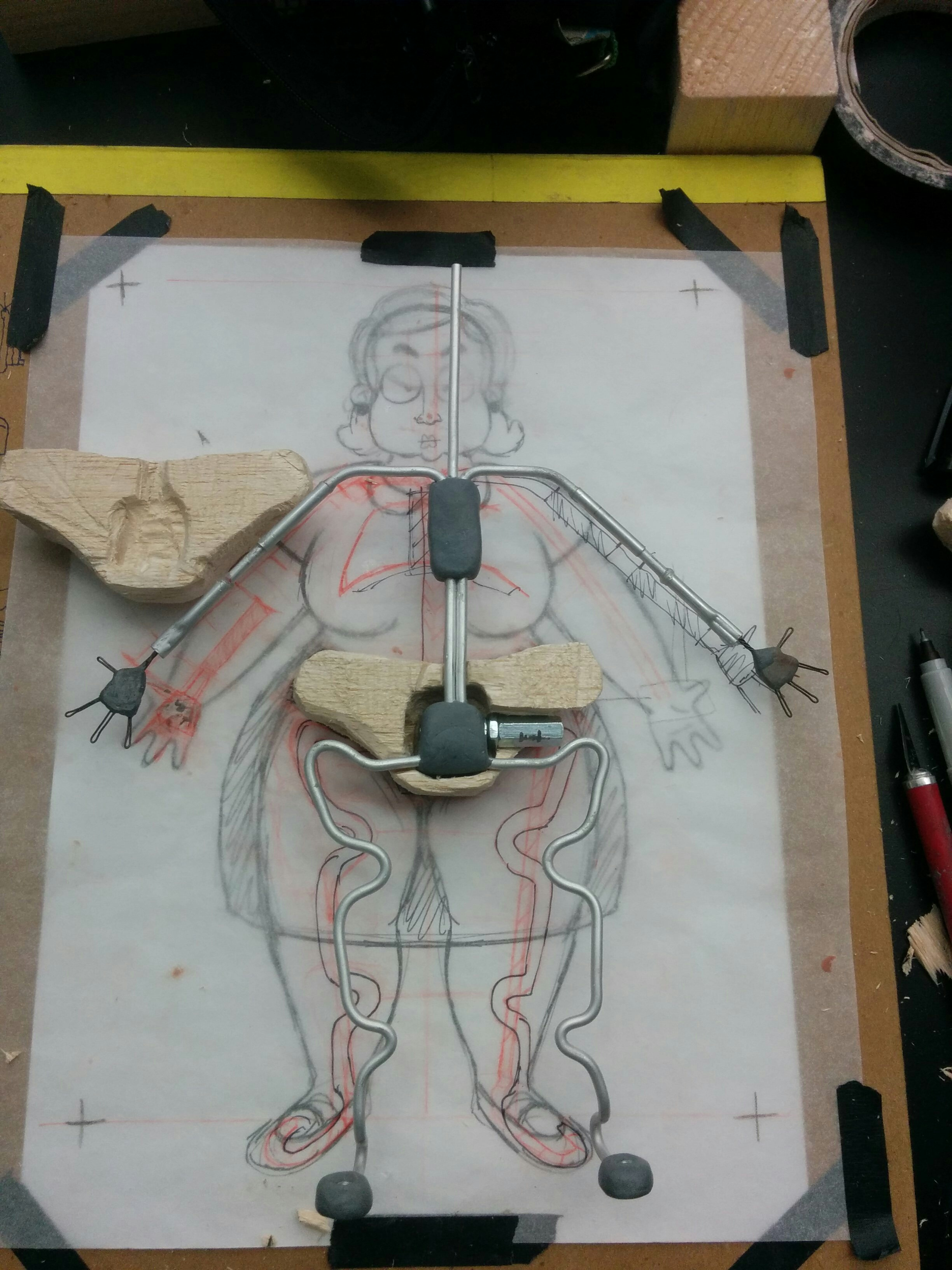 Aluminum wire armature, with a balsa block hip and fly-rigging using coupler nuts