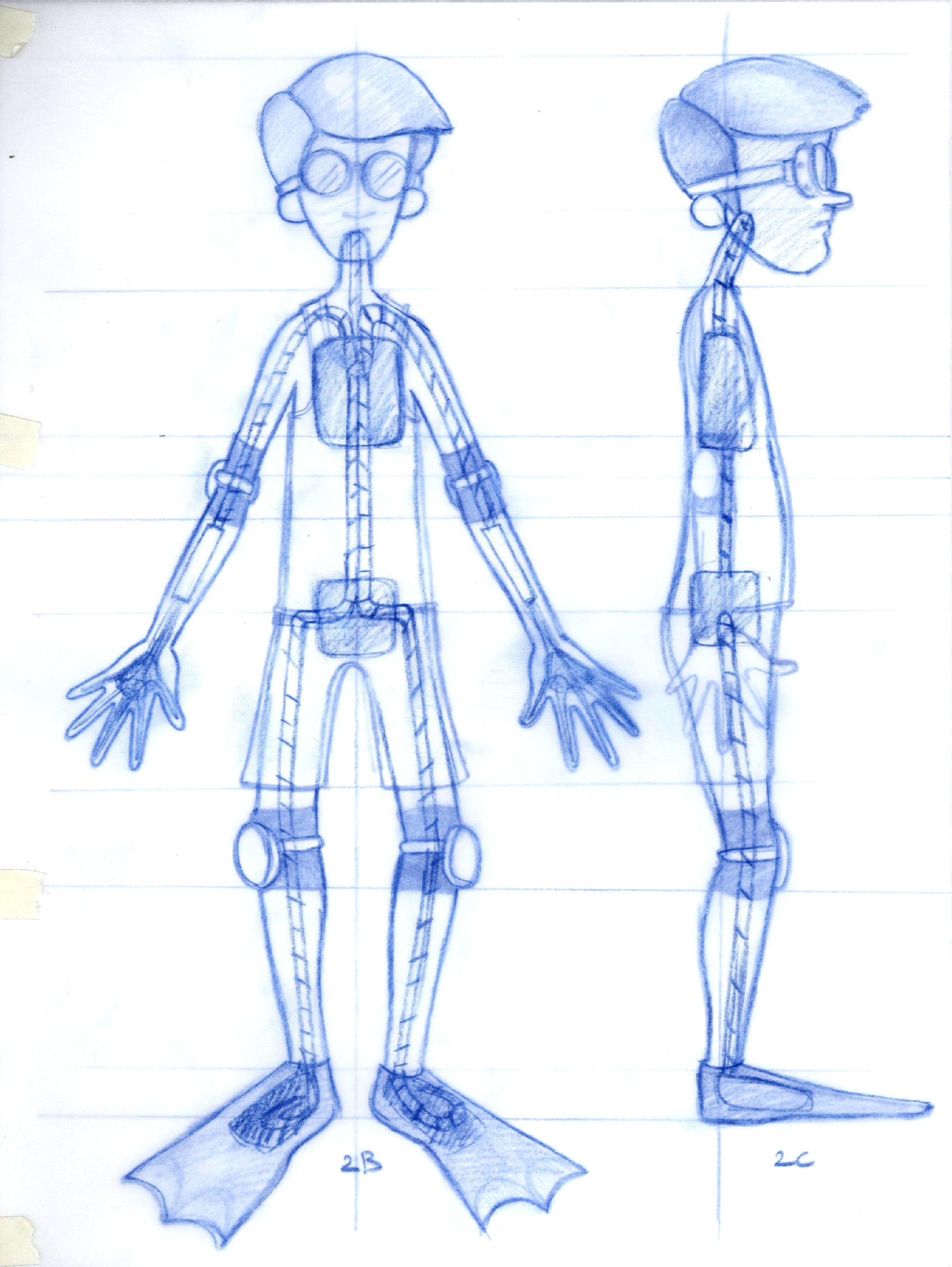 Diver character design and armature drawing.