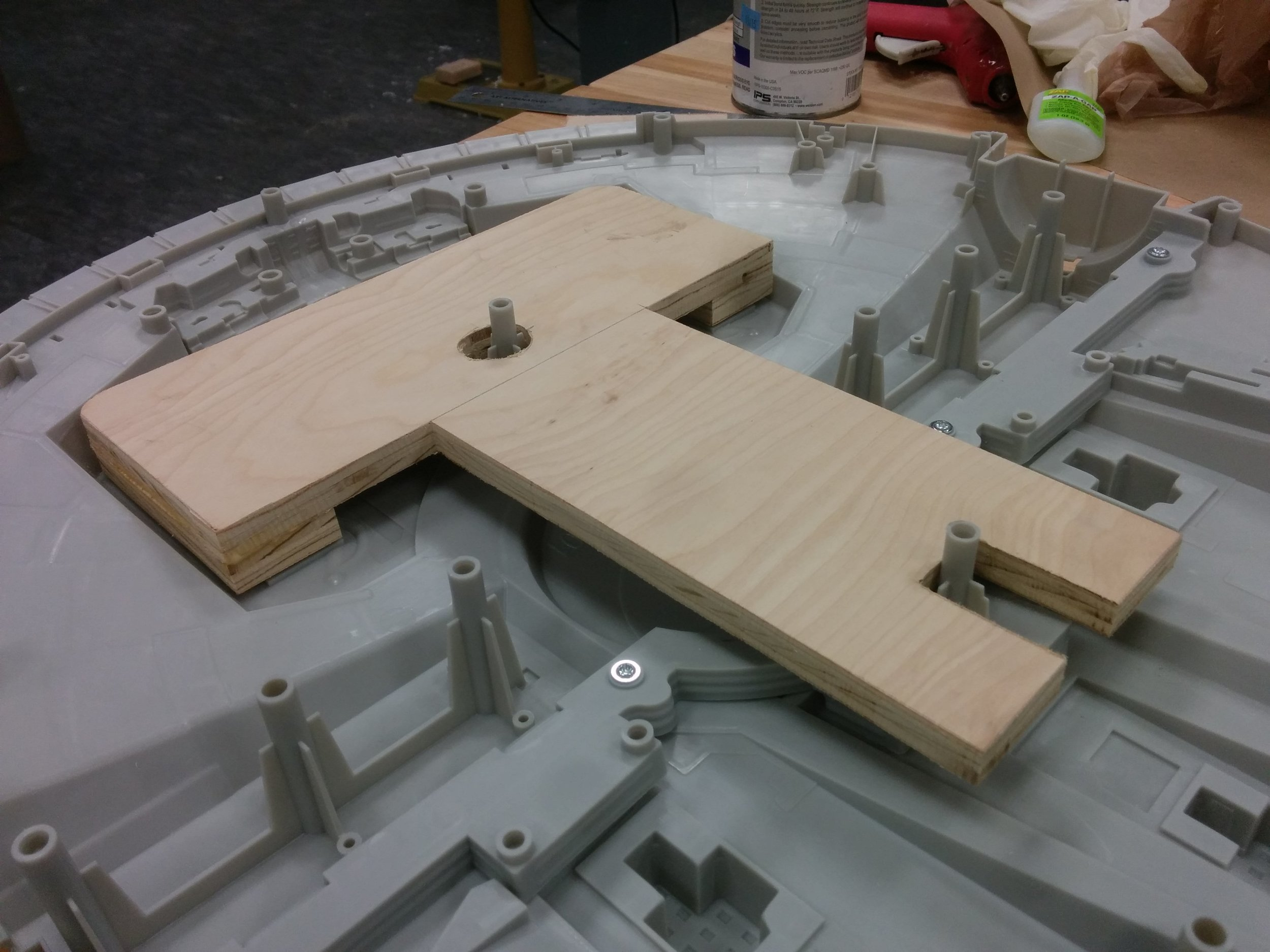 Birch ply base fit inside the toy model to add stability and balance during animation.