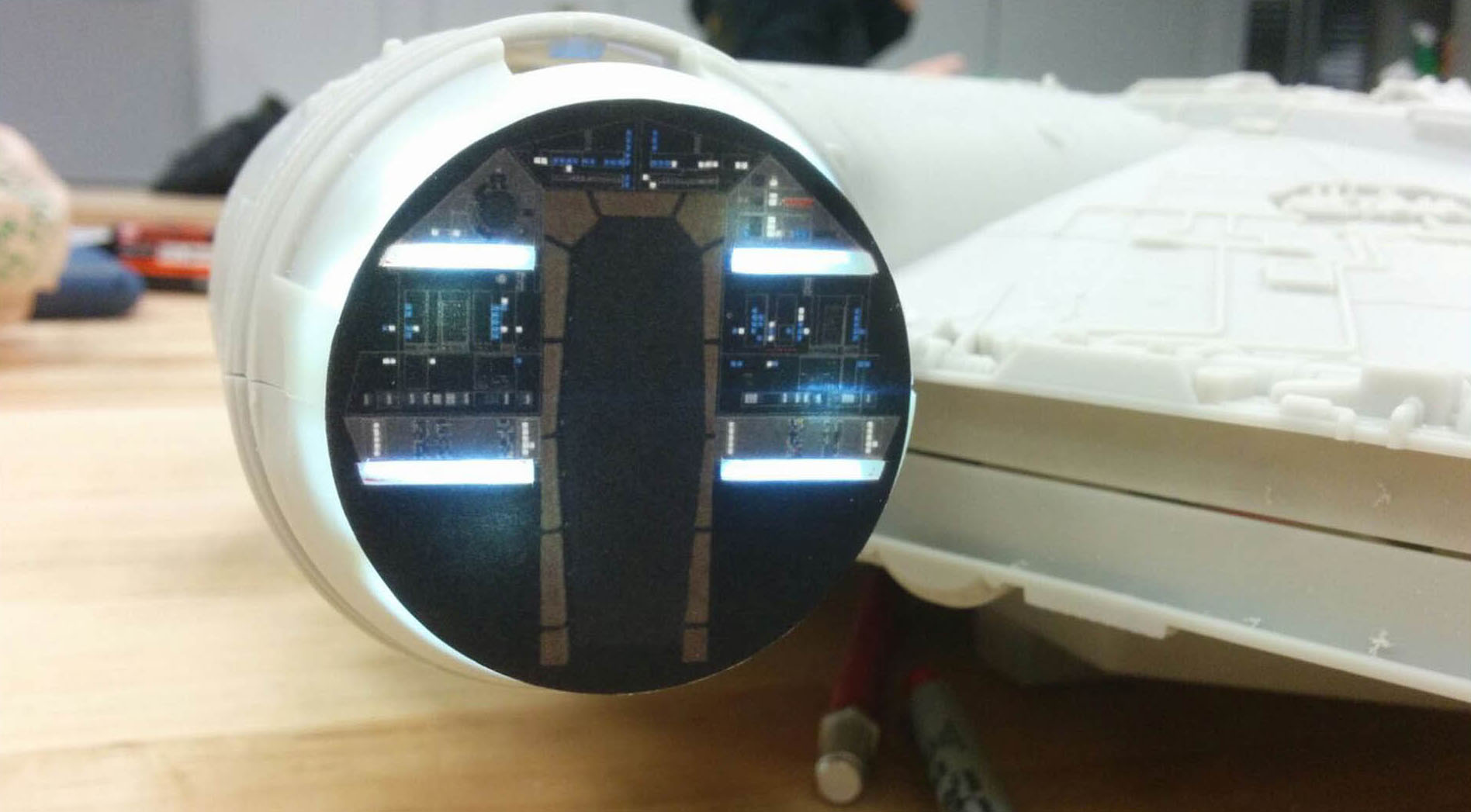 Practical lights added inside the cockpit with an image printout.