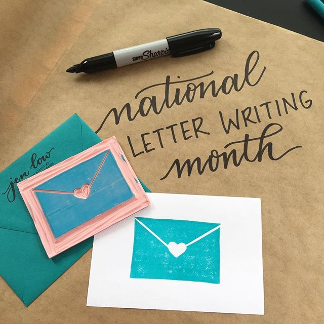 I tried a new medium last week and carved this stamp in preparation for April, which is National Letter Writing Month! As part of the #write_on challenge I'm sending 30 letters in 30 days. I'm pretty sure most people are excited to get things aside from bills and ads in their mailbox so I encourage you to join in (even if it's not as many as 30) to send some handwritten letters to friends and family too! (Thanks for the block carving supplies and intro tips @pleung8!) . . #nationalletterwritingmonth #sendmoresnailmail #letterwriting #write_on #mailswap #happymail #nationalcardandletterwritingmonth