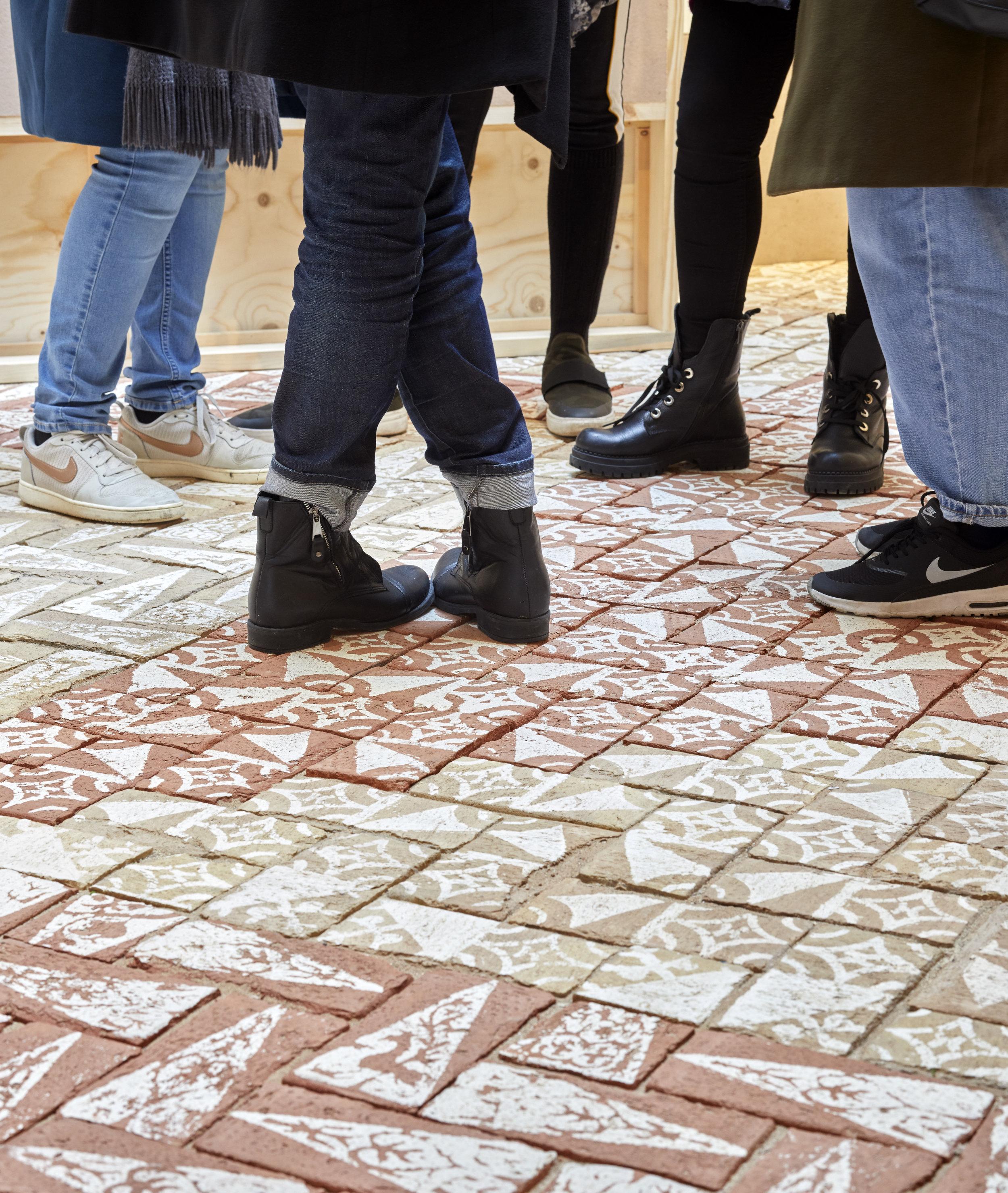 installation at RIBA 2019 recreating the Road brick surface, photo by Edmund Sumner