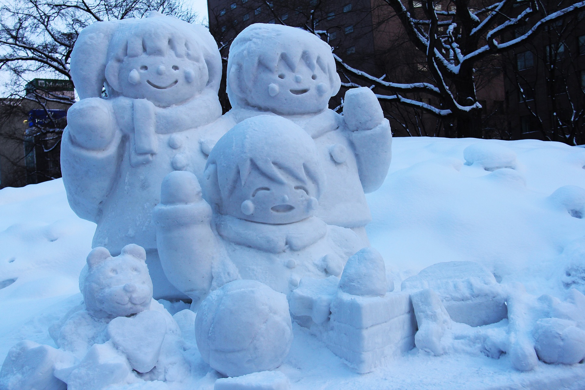 snow carving at sapporo annual snow festival