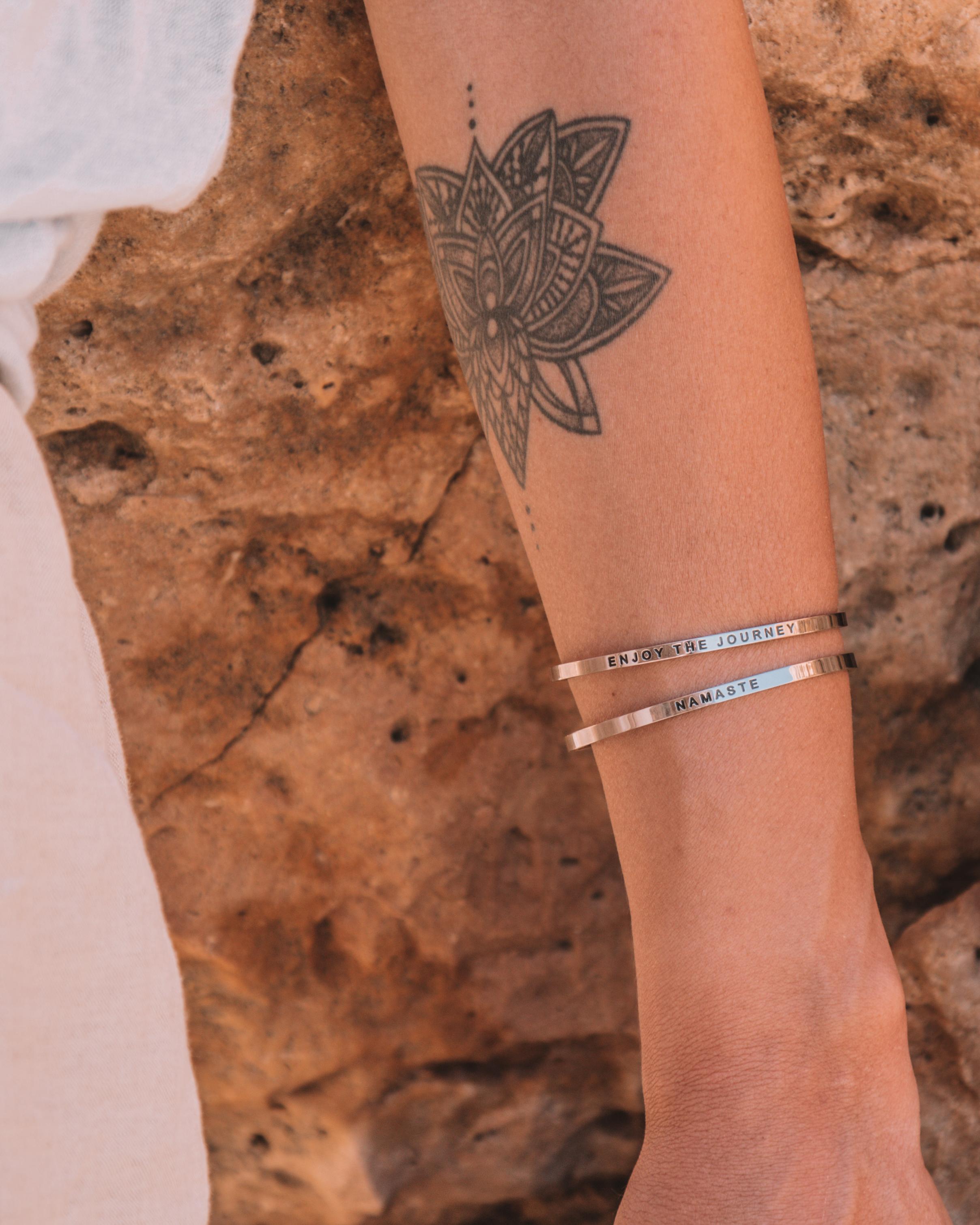 enjoy the journey namaste mantra bracelet silver mantraband freeoversea discount code