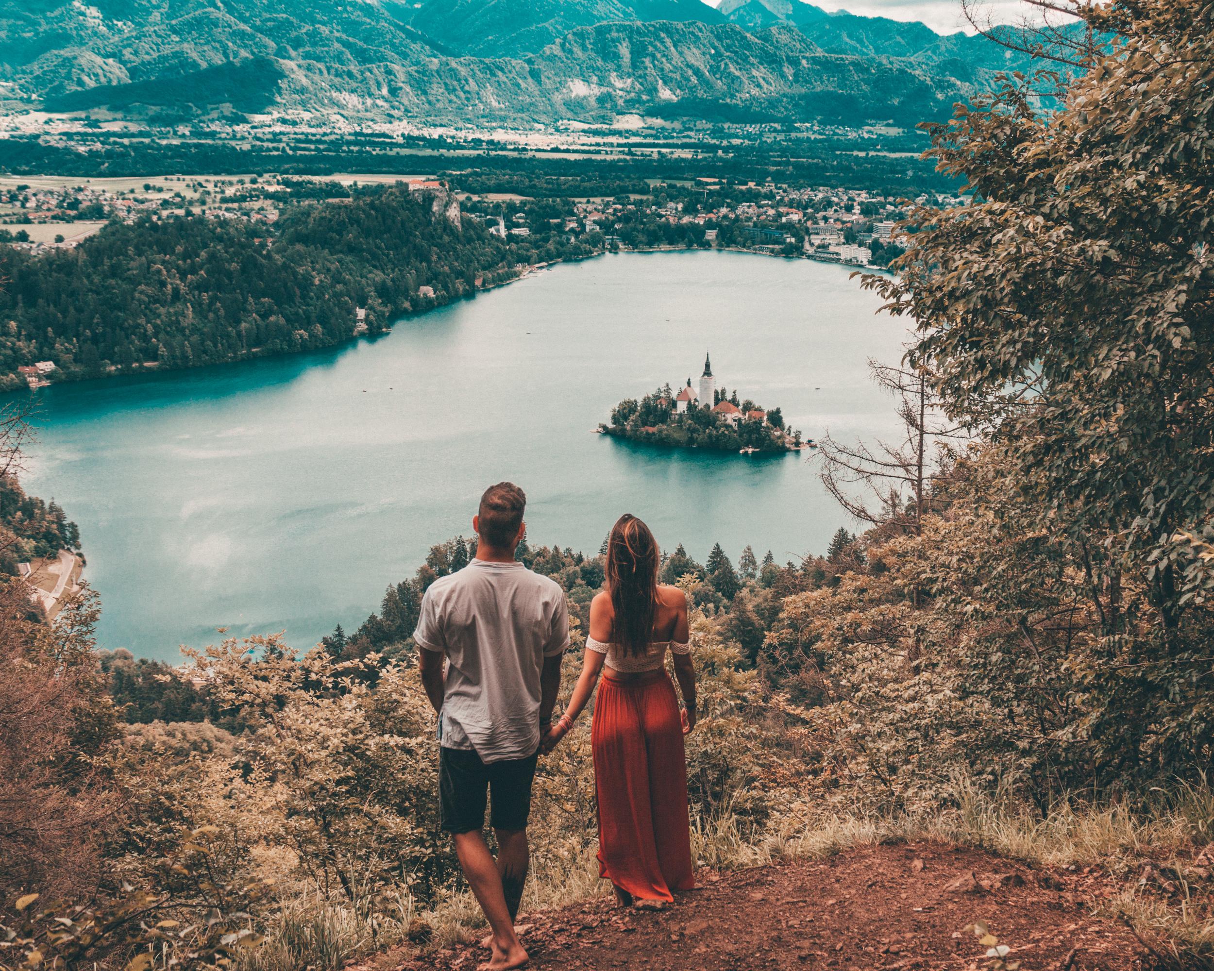 travel couple lake bled slovenia interrail europe budget guide lifestyle explore nature best lake
