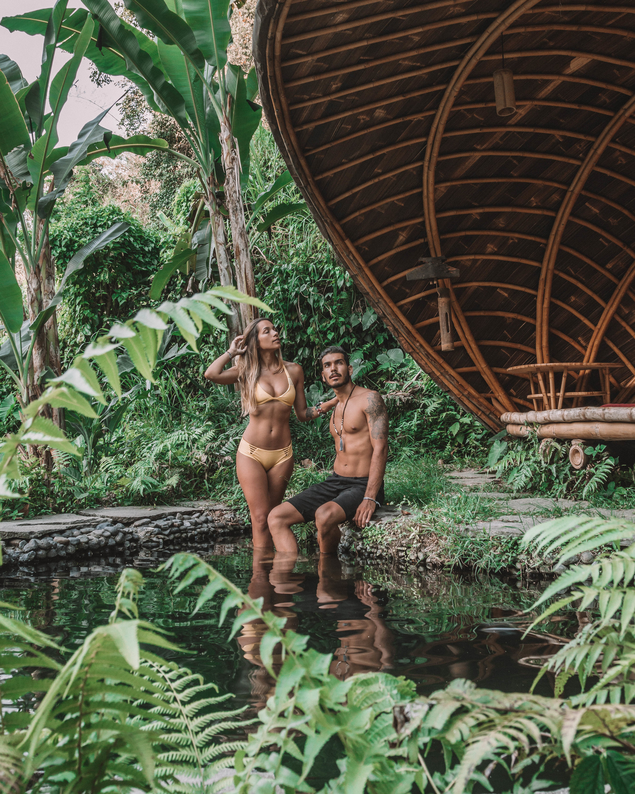 Sunset romance at bambu indah jungle tentls couple goals vibes lost in nature best hotels bali indonesia travel couple goals
