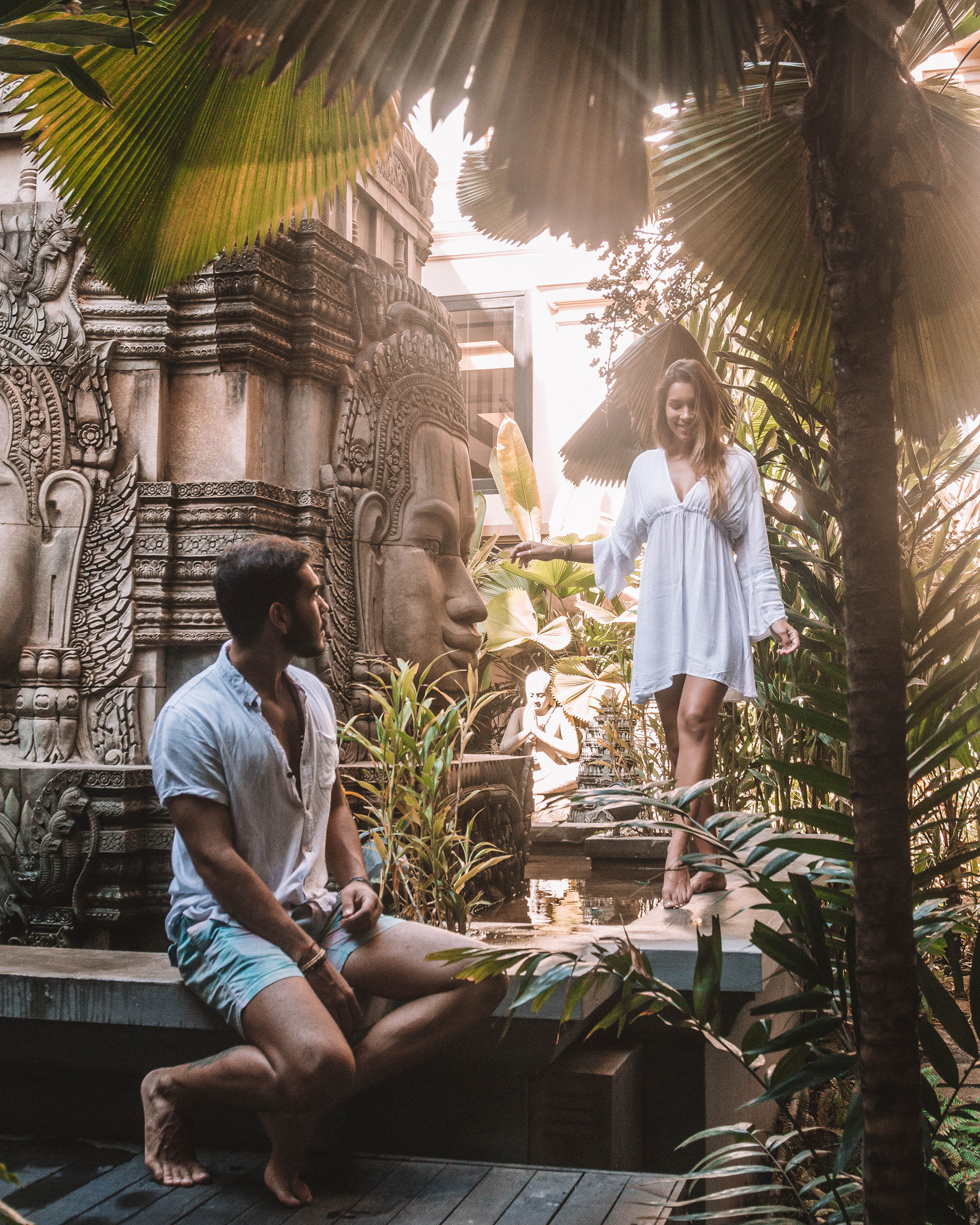 Cambodia Siem Reap Angkor Miracle Resort and Spa Buddha garden nature love peace serenity find your light outdoors khmer culture couple love travel mindfulness