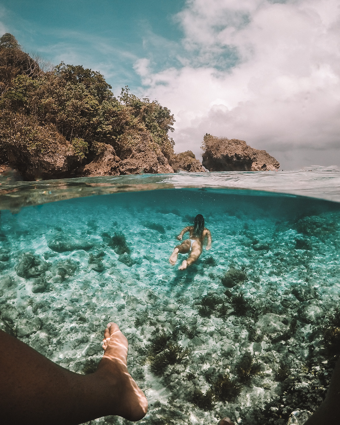 Siargao living the ultimate island life Philippines tropical destination palm tree beach beautiful places travel guide magpupungko rock pool tidal go pro underwater shot