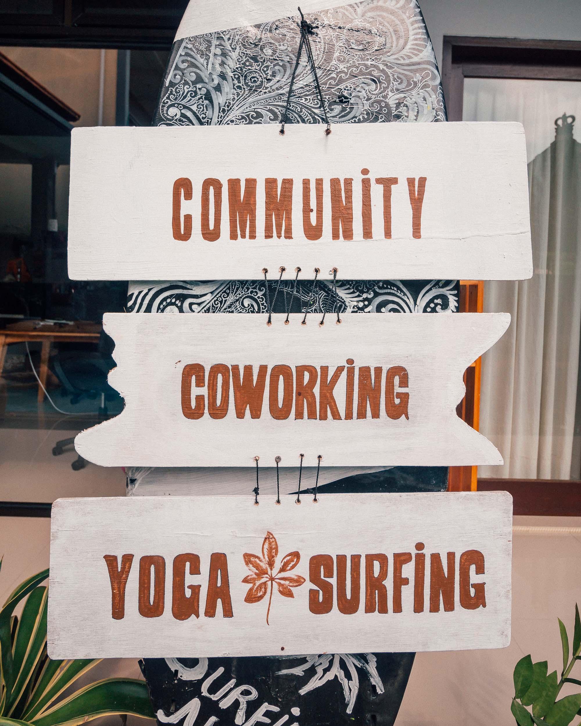 The best coworking space in Bali surfing nomads digital remote work community yoga lifestyle canggu beach batu bolong