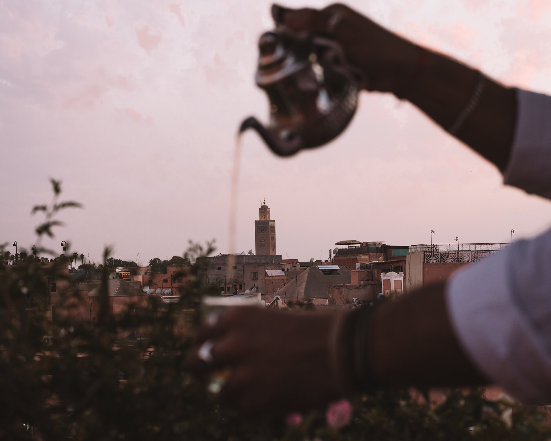 marrakech essential travel guide moroccan mint tea with rooftop view to koutobia mosque