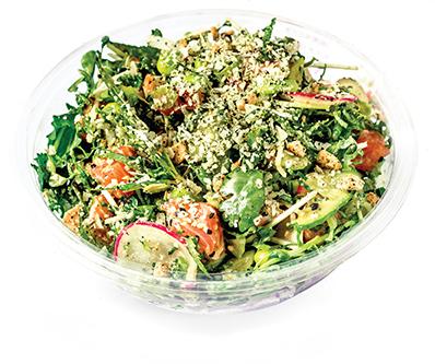 GREEN GODDESS SALMON   green goddess sauce, edamame, shredded kale, fresh herbs, snow pea sprouts, wasabi peas