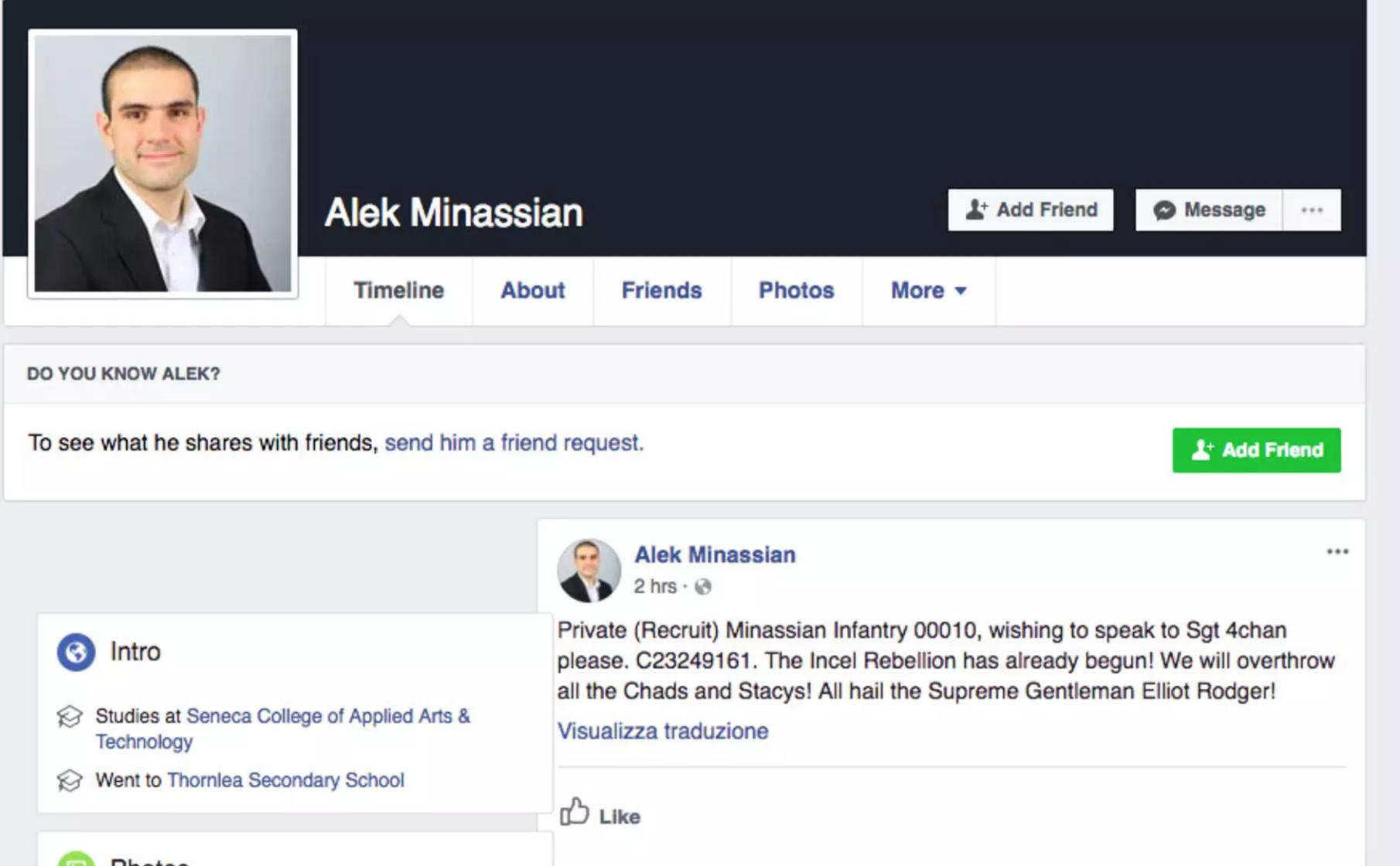 Alek Minassian's facebook post